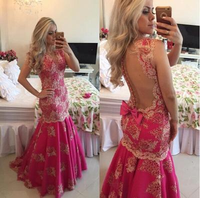 Chic Lace Appliques Mermaid Sequins Prom Dress UK Fuchsia Sweep Train_2
