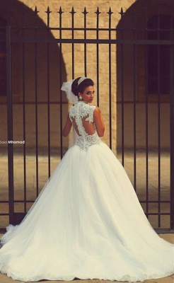 gorgeous cap sleeve tulle lace wedding dress with train_5