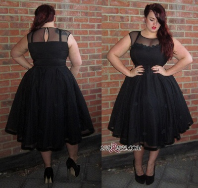 Cap-Sleeve A-line Plus-Size Black Jewel Tea-Length Newest Prom Dress UK BA6869_1