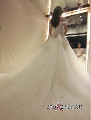Tulle Beads Newest Lace-Appliques Off-the-shoulder Long-Train Wedding Dress_2