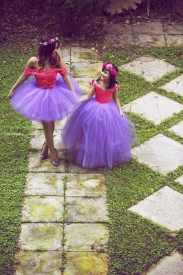 Newest Off-the-shoulder Tulle Mother And Daughter Dress UK With Lace_1