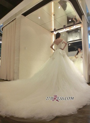 Tulle Beads Newest Lace-Appliques Off-the-shoulder Long-Train Wedding Dress_1