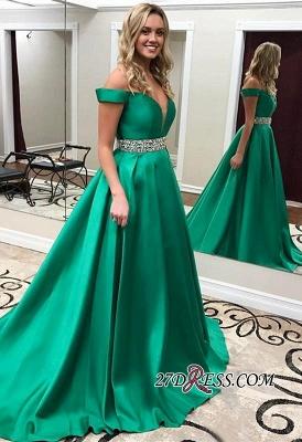 Crystal Off-the-Shoulder Luxury Green Prom Dress UK_2
