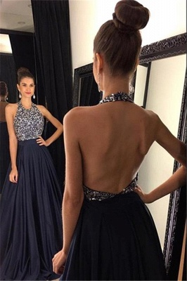 Elegant Black Halter Prom Dress UKes UK Backless Long Chiffon With Beadings AP0_2