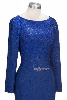 Knee-Length Beading Sheath Long-Sleeves Royal-Blue Formal Dress UKes UK_3