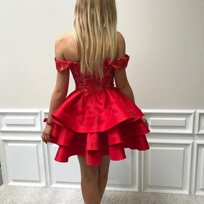 Lace Short Ruffles Off-the-shoulder Modest Red Homecoming Dress UK_4
