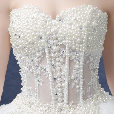 Elegant Sweetheart Pearls Wedding Dresses UK Ball Gown Tulle Bridal Gown_5