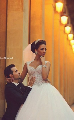 gorgeous cap sleeve tulle lace wedding dress with train_3