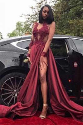 Burgundy lace prom Dress UK, evening Dress UK with slit BK0_1