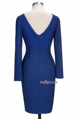 Knee-Length Beading Sheath Long-Sleeves Royal-Blue Formal Dress UKes UK_4