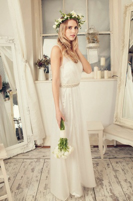 Delicate Tulle A-line Wedding Dress Straps Beads Floor-length_1