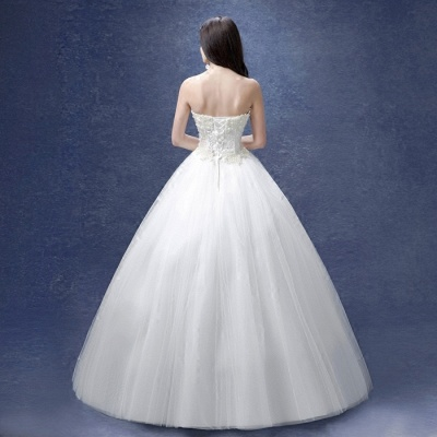 Elegant Sweetheart Pearls Wedding Dresses UK Ball Gown Tulle Bridal Gown_4