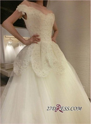 Tulle Beads Newest Lace-Appliques Off-the-shoulder Long-Train Wedding Dress_3