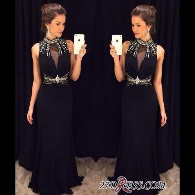 Crystal Sleeveless Sheath Black High-Neck Natural Long Prom Dress UKes UK AP0_1