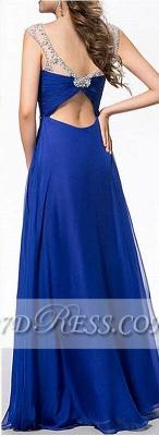 Royal Blue A-Line Chiffon Prom Dress UKes UK Ruffles Floor Length Evening Dress UKes UK with Beadings_7