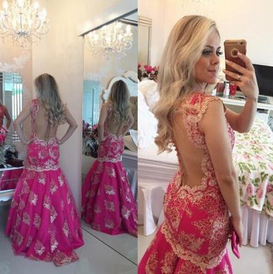 Chic Lace Appliques Mermaid Sequins Prom Dress UK Fuchsia Sweep Train_3