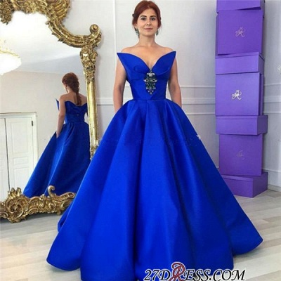 Sexy Crystal Floor-Length Royal-Blue Ball-Gown Prom Dress UK_1