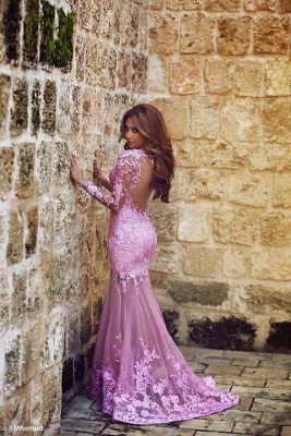 Modern Long Sleeve Mermaid Prom Dress UK Floor-length With Lace Appliques_4