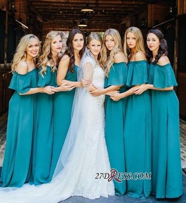 Chiffon Sexy Wedding Off Hunter Lang Shoulder Party Green Bridesmaid Dress UK_2