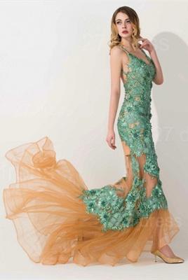 Elegant Appliques V-neck Mermaid Prom Dress UK Sweep Train_2