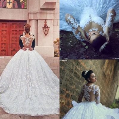 Train Long Sleeve Lace Wedding Dresses UK with Sweep New Arrival Ball Gown Bridal Gown_4