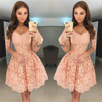 Beautiful Half Sleeve Lace Short Homecoming Dress UK On Sale BA6953_3