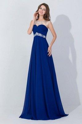 Royal Blue A-Line Chiffon Prom Dress UKes UK Ruffles Floor Length Evening Dress UKes UK with Beadings_8
