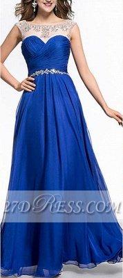 Royal Blue A-Line Chiffon Prom Dress UKes UK Ruffles Floor Length Evening Dress UKes UK with Beadings_6