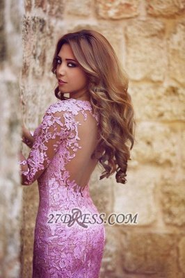 Modern Long Sleeve Mermaid Prom Dress UK Floor-length With Lace Appliques_3