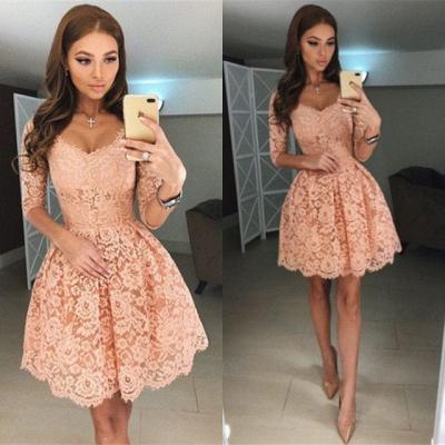 Beautiful Half Sleeve Lace Short Homecoming Dress UK On Sale BA6953_4