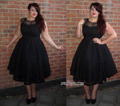 Cap-Sleeve A-line Plus-Size Black Jewel Tea-Length Newest Prom Dress UK BA6869_2