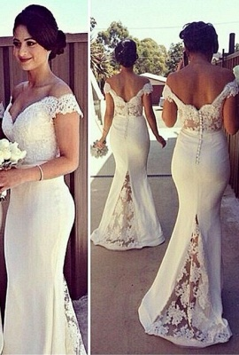 Elegant Off-shoulder Mermaid Bridesmaid Dress UK With Lace Appliques_2