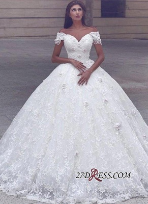 Ball-Gown Lace Elegant Cap-Sleeve Lace Wedding Dress_2