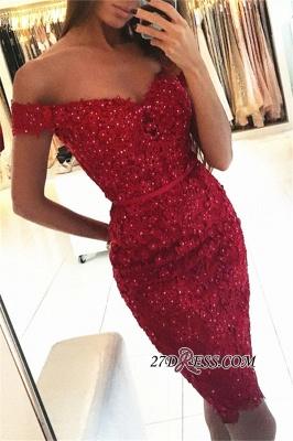Beadings Short Sheath Red Off-the-Shoulder Appliques Elegant Tight Homecoming Dress UK qq0326_2