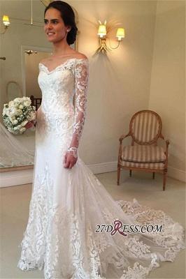 Court-Train Lace Long-Sleeve Sheath V-neck Off-the-shoulder Wedding Dresses UK BA4066_5