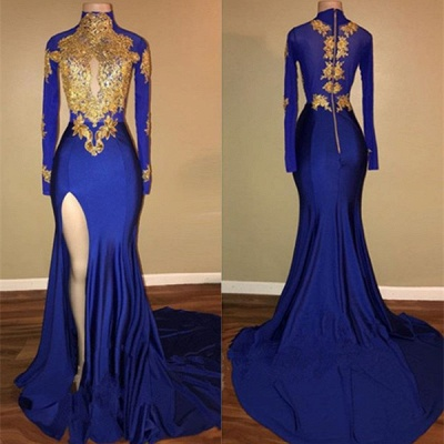 Sexy Royal Blue Prom Dress UK Mermaid Long Sleeve With Appliques BA7711_3
