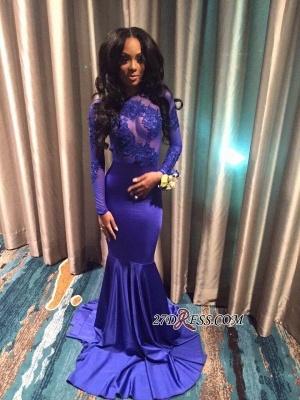 Open-Back Elegant Long-Sleeves Mermaid Appliques Prom Dress UK qq0176 BK0_4