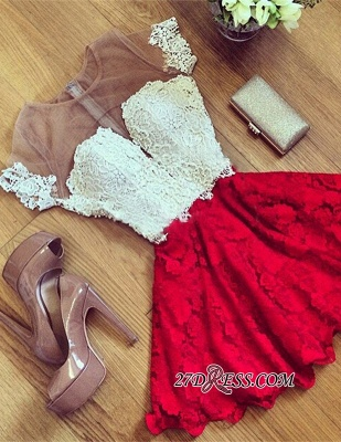 Cute Lace Short Illusion Short-Sleeve Homecoming Dress UK_4