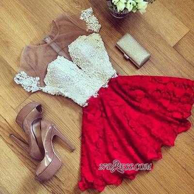 Cute Lace Short Illusion Short-Sleeve Homecoming Dress UK_3