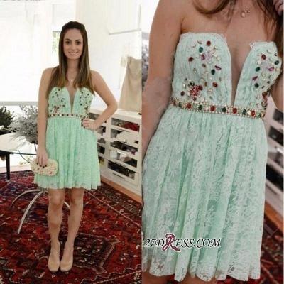Crystal Lace Empire Sweetheart Sleeveless Mini Homecoming Dress UKes UK_3