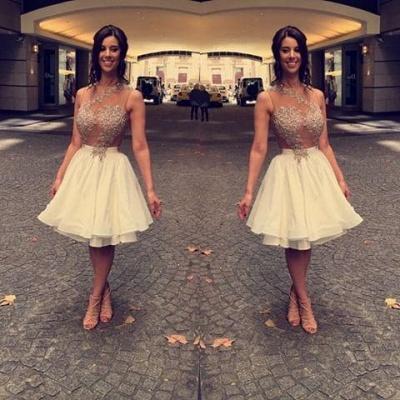 Beaded A-Line Appliques Short Chiffon Lace Sleeveless Homecoming Dress UK_2