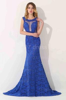 Luxury Royal Blue Sleeveless Evening Dress UK Sweep Train_1