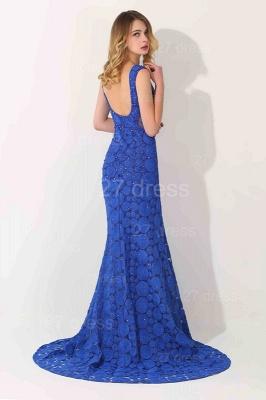 Luxury Royal Blue Sleeveless Evening Dress UK Sweep Train_3