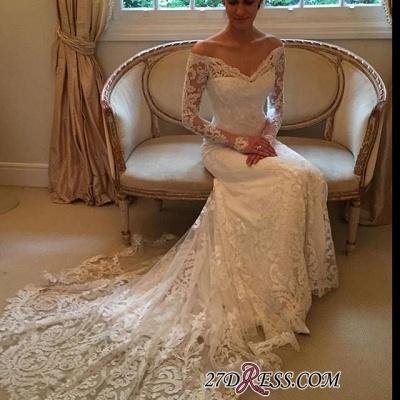 Court-Train Lace Long-Sleeve Sheath V-neck Off-the-shoulder Wedding Dresses UK BA4066_3