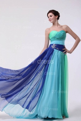 Colourful Evening Gowns Sweetheart Sleeveless A Line Sequins Crystal Floor Length Prom Gowns_1