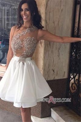 Beaded A-Line Appliques Short Chiffon Lace Sleeveless Homecoming Dress UK_3