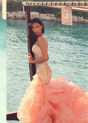 Elegant Sleeveless Sexy Mermaid Wedding Dress With Ruffles Beadss_1