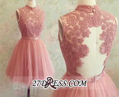 High-Neck Mini Lace Appliques Newest Sleeveless Homecoming Dress UK_3