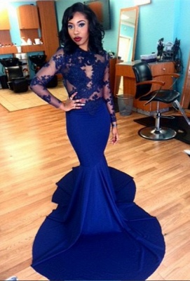 Delicate Royal Blue Lace Appliques Evening Dress UK Mermaid Long Sleeve BK0_2