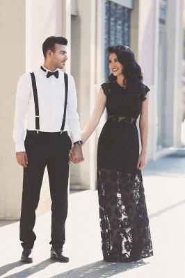 Elegant A-line Black Lace Evening Dress UK Cap Sleeve Floor-length_1